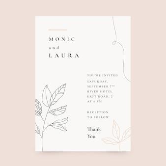 Hand drawn minimalist wedding invitation template