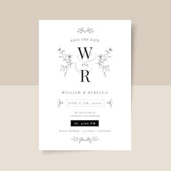 手描きのミニマリストの結婚式の招待状