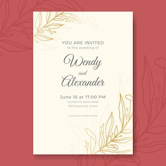Hand drawn minimalist wedding invitation