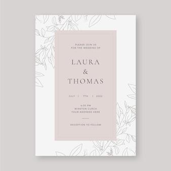 Hand drawn minimalist wedding invitation