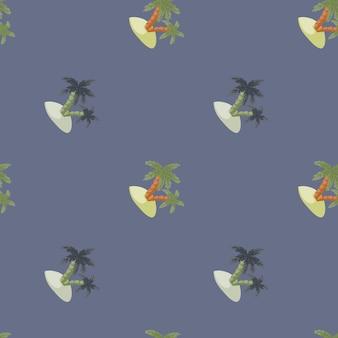 Ручной обращается минималистичный бесшовные модели с пальмами и силуэтами острова. темно-синий пастельный фон. предназначен для тканевого дизайна, текстильной печати, упаковки, обложки. векторная иллюстрация.