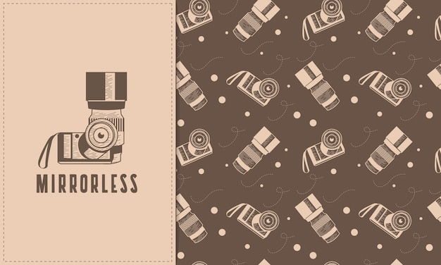 Hand drawn mirrorless and lens with seamless pattern set