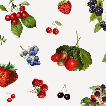 Frutti di bosco misti disegnati a mano su uno sfondo grigio