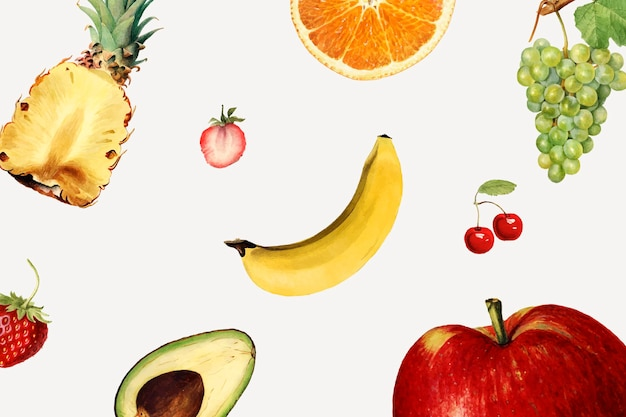 Hand drawn mixed tropical fruits background