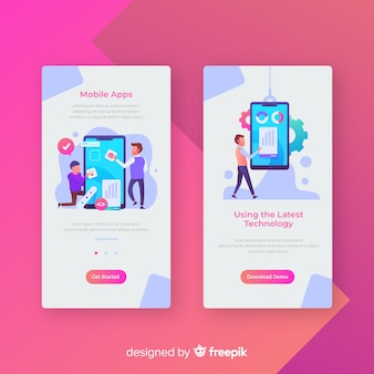 Hand drawn mobile app banner template