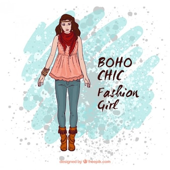 Hand drawn model in boho style with a watercolor stain