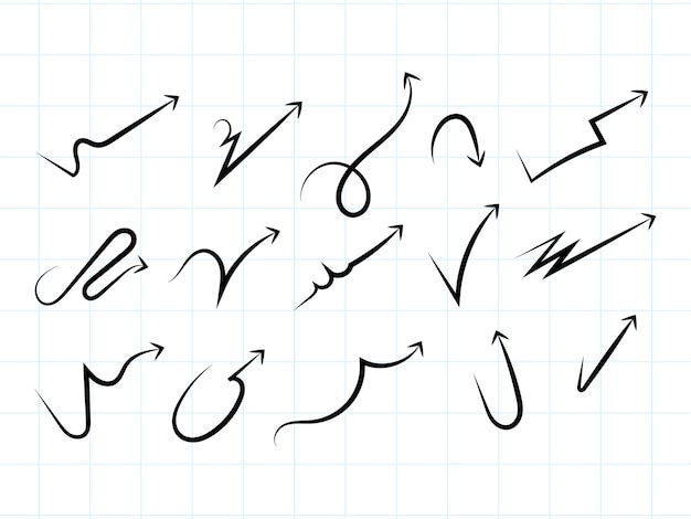 손으로 그린 현대 화살표 디자인 모음
