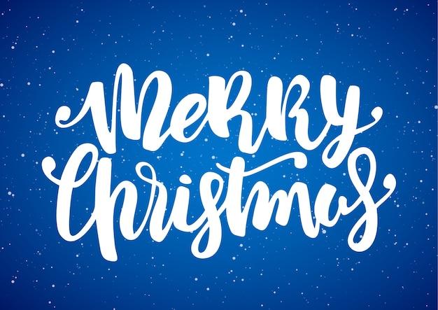 손으로 파란색 눈송이 배경에 메리 크리스마스의 현대 브러시 글자를 그려.