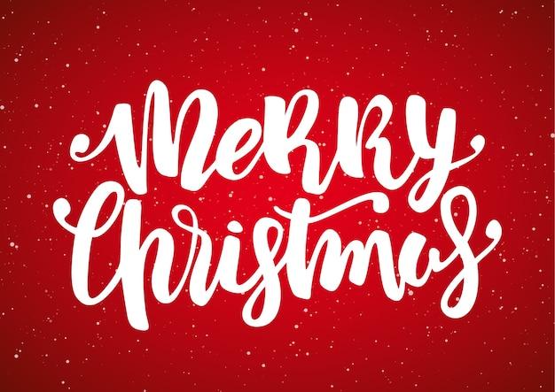 손으로 빨간 눈송이 배경에 메리 크리스마스의 현대 브러시 글자를 그려.