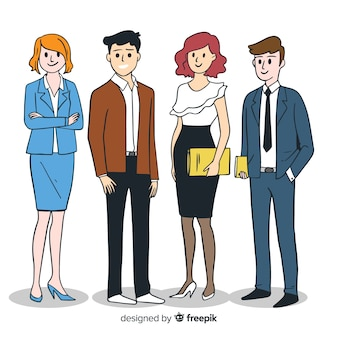 Hand drawn modern business people