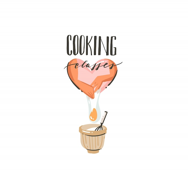 Hand drawn   modern cartoon cooking time illustration with  handwritten calligraphy text cooking classes isolated