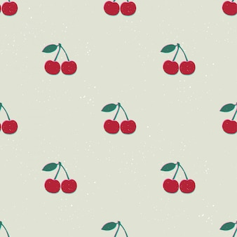Hand drawn modern illustration with cherry. vintage trendy  seamless pattern in vibrant colors. retro, pin-up repeating texture.