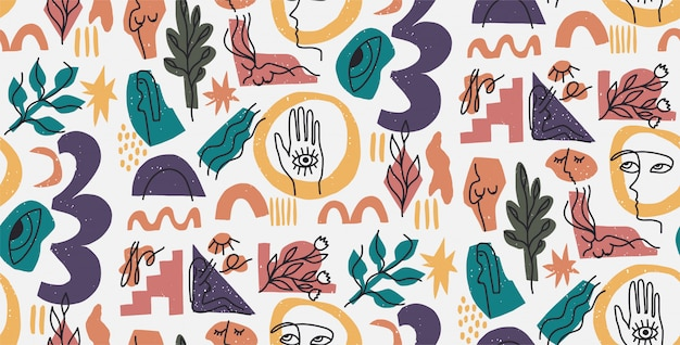 Hand drawn modern illustration with fashionable portrait, woman body, hand and eye, various shapes and doodle objects. abstract modern trendy  seamless pattern. retro, pin-up repeating texture.