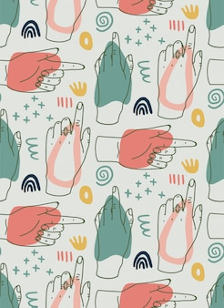 手は、ラインの手、さまざまな形、落書きオブジェクトでモダンなイラストを描いた。抽象的な現代的なトレンディなベクトルのシームレスなパターン。