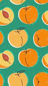 桃と手描きのモダンなイラスト。鮮やかな色のアプリコットとビンテージのトレンディなシームレスパターン。レトロなピンナップ繰り返しテクスチャ。