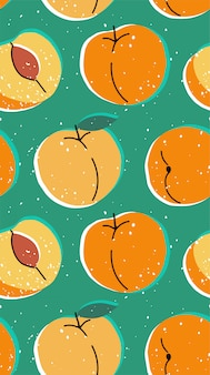 Hand drawn modern illustration with peach. vintage trendy  seamless pattern with apricot in vibrant colors. retro, pin-up repeating texture.