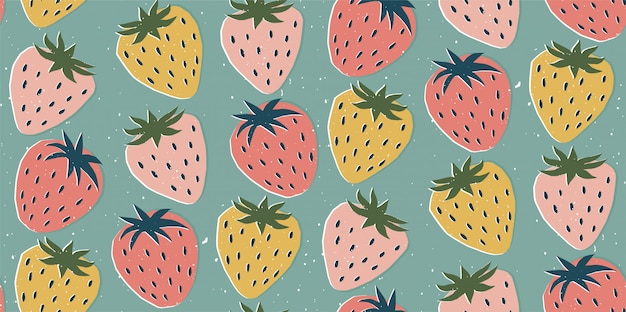 Hand drawn modern illustration with strawberry. vintage trendy  seamless pattern in vibrant colors. retro, pin-up repeating texture.