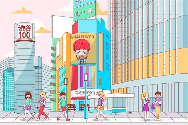 손으로 그린 현대 일본 거리