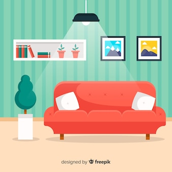 Hand drawn modern living room interior design