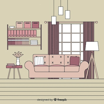 Hand drawn modern living room