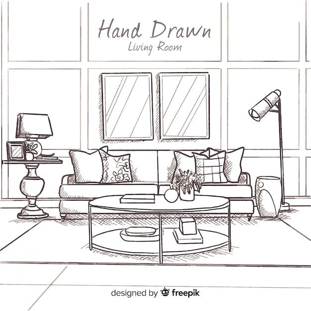 Free Hand Drawn Modern Living Room Svg Dxf Eps Png Svg Cut