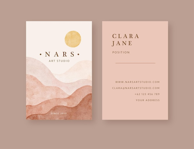 Hand drawn modern mountain landscape shape business card template