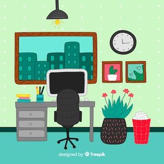 손으로 그린 현대 사무실 인테리어