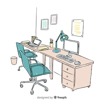 Hand drawn modern office interior