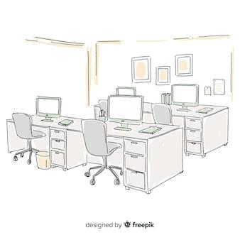 Interno di ufficio moderno disegnato a mano