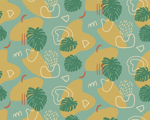 Hand drawn modern pattern with fashionable abstract various shapes and tropical leaves, doodle objects.