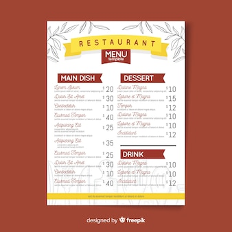 Hand drawn modern restaurant menu template