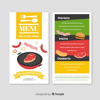 Hand drawn modern restaurant menu template