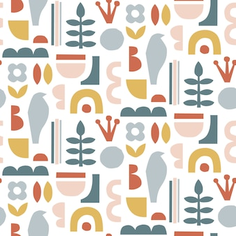 Hand drawn modern seamless pattern.