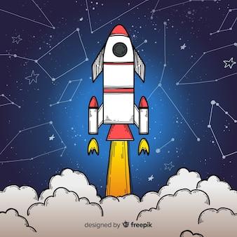 Hand drawn modern space rocket