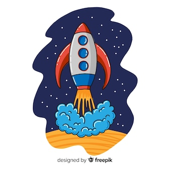 Hand drawn modern space rocket