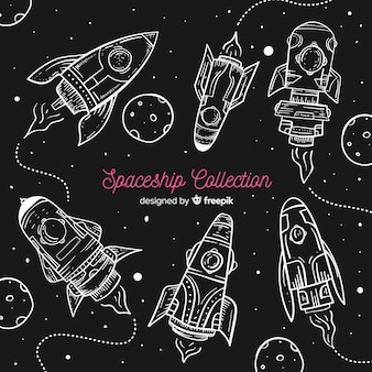 Hand drawn modern spaceship collection