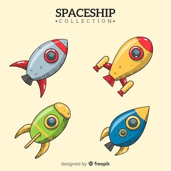 Hand drawn modern spaceship collection