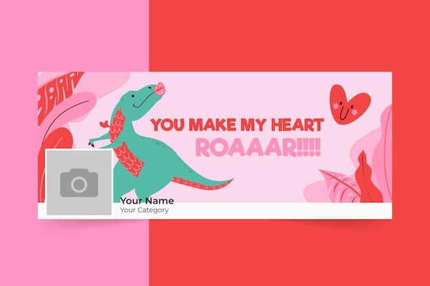 Hand drawn modern valentine's day facebook cover