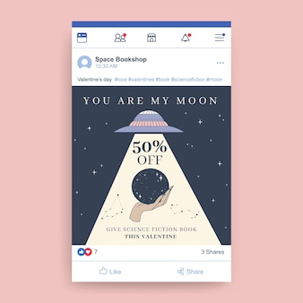 Hand drawn modern valentine's day facebook post