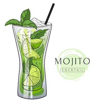 Hand drawn mojito cocktail with ice mint and lime