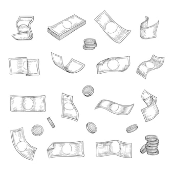 손으로 그린 돈. 은빛 동전 금융 자본 금 투자 기호 컬렉션.