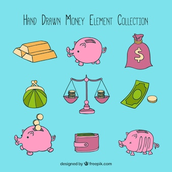 Hand-drawn money element collection