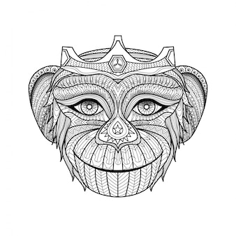 Hand drawn monkey background