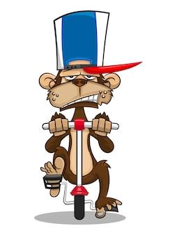 Нарисованный от руки мультфильм обезьяны в кепках дальнобойщика и на велосипеде