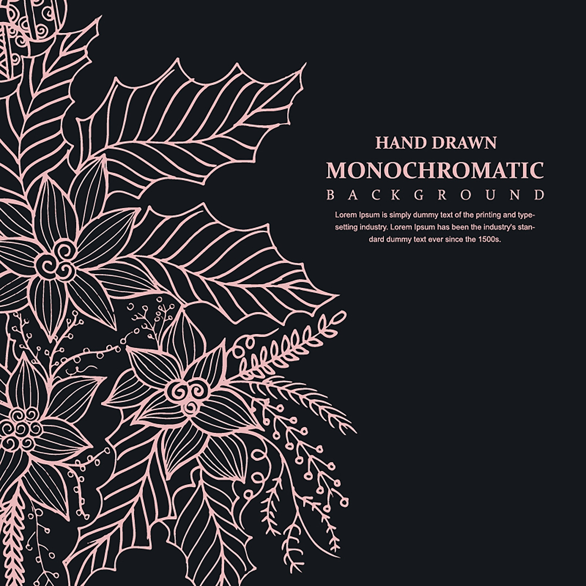 Hand Drawn Monochromatic Floral Background