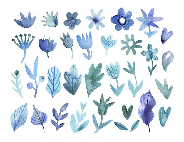 블루 색상에 손으로 그린 단색 꽃 모음