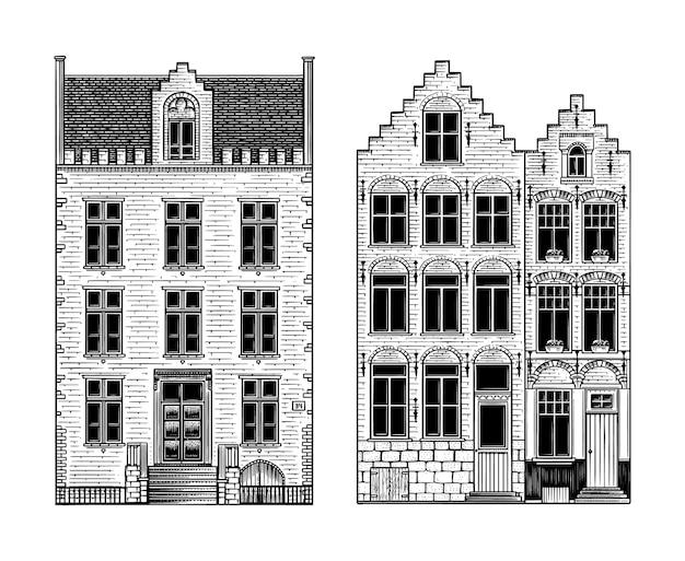 손으로 그린 흑백 암스테르담 하우스