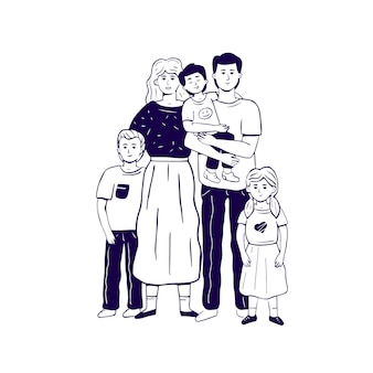 Hand drawn monochrome family standing in embrace.