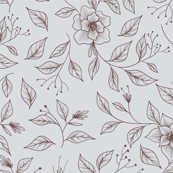 Hand drawn monochrome floral pattern