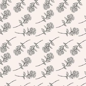 手描きのモノクロ花柄デザイン
